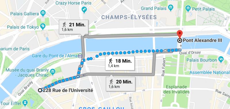 walking, paris, spaziergang durch paris, rue de l´universite, seine, pont alexandre III