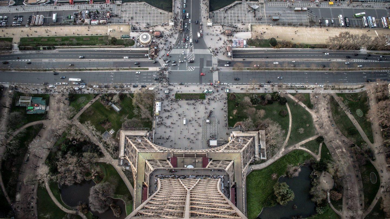Paris von Oben, Aussichtspunkt Eiffelturm, Aussicht vom Eiffelturm runter